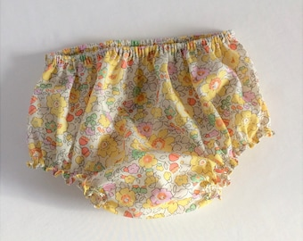 Flower bloomers for baby - Liberty Betsy - bloomers - cotton - yellow and pink - bebe2018 fashion trend - 2018 spring - summer 2018