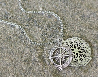 Essential Oil Diffuser Necklace, Compass Necklace, Stainless Steel Oil Locket, Aromatherapy Jewelry, Essential Oil Necklace, Diffuser Locket
