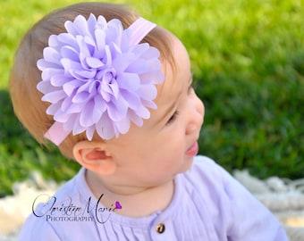Baby headbands, lavender flower headband, baby girl headbands, lavender baby headband, easter headband, newborn headband, infant headband