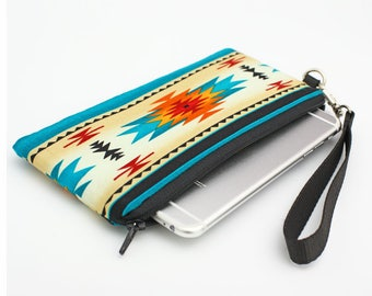 Southwestern Phone Wristlet, Smartphone Purse, Cell Phone Wallet, Tribal Wrist Wallet, Small Makeup Wristlet - turquoise Navajo Aztec print