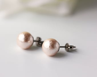 Light Pink Cotton Pearl Titanium Studs Nickel Free Light Weight Simple Earrings