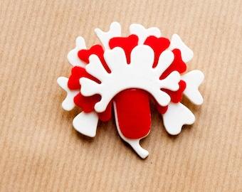 Red Flower Brooch Vintage Mod in