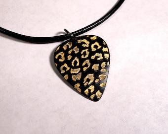 SALE - Engraved Leopard Print Plastic Guitar Pick Necklace or Pendant, black and gold