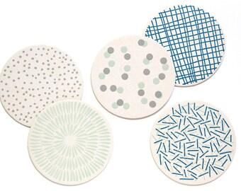 Letterpress Coaster Set   Blue Patterns   Set of 10