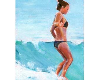 Surfer Girl Painting, Surfer Girl Art, Surf Girl Art, Surf Girl Painting, Surf Art