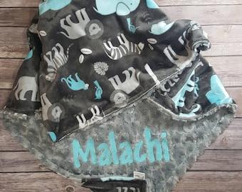 Minky Baby Blanket,Jungle Tales Topaz,Gray Minky Swirl,Personalized Blanket, Newborn Blanket, Baby Boy Blanket, Zoo Animals, Animal Bedding