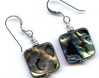 Paua Shell Squares Sterling Silver Earrings