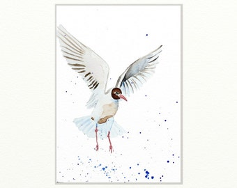 seagull original watercolor painting seagull painting bird painting beach house art  28,2x21cm (approx.11.24x8.4inch)