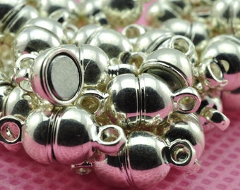 50 Sets of Silver plated Magnetic Clasp in 5mm