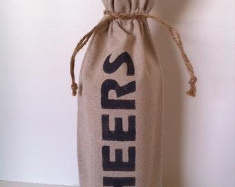 "Hand stenciled linen wine/spirits gift bag ""Cheers"""