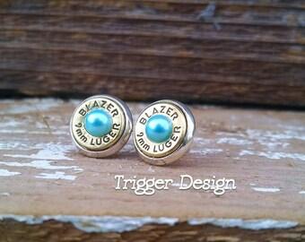 9mm Caliber Bullet Casing Post Earrings- Light Blue Pearl