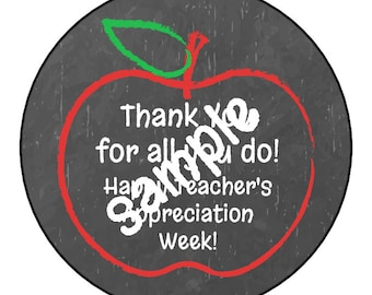 INSTANT DOWNLOAD Teachers Appreciation Week Gift Thank You Stickers, Tags, Labels, or Cupcake Toppers, DIY Digital File jpg