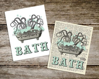 Vintage Style Antique Octopus Bath Print from Curious London