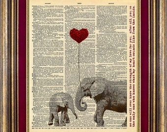 Unique gift Elephant LOVE with TEXT Dictionary Page ORIGINAL art print book page art print up cycled