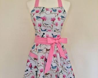 Vintage pink and blue birds apron
