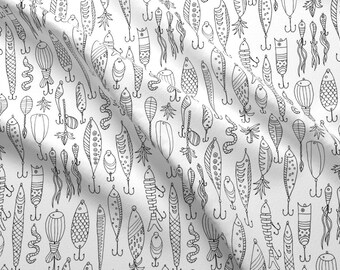 Fishing Lures Fabric - Gone Fishing! By Snowflower - Fishing Lures Coloring Book Black and White Cotton Fabric By The Yard With Spoonflower