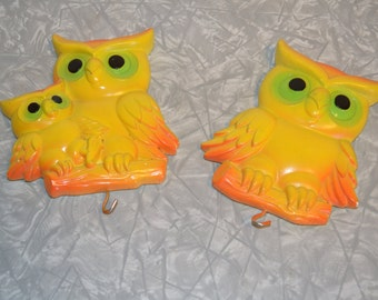 Vintage Owl Wall Plaques ~ Miller Studios Chalkware Owls ~