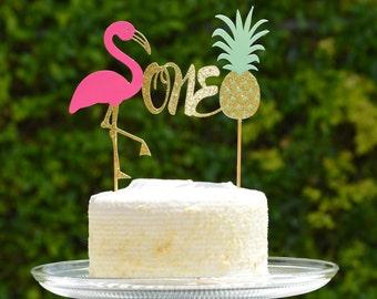 Flamingo One Cake Topper,1st Birthday Cake Topper,Lets Flamingle Cake Topper,Happy Birthday Flamingo Cake Topper,Pineapple Cake Topper