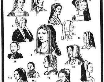 Period Patterns Tudor Era Headdresses & Hods circa 1490-1580 Sewing Pattern #52