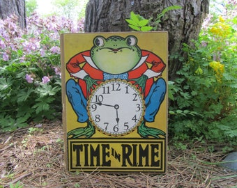 Vintage Clock Book Time in Rime Hardcover 1920's Swan Book by Gertrude Crownfield Anthropomorphic Frog Art Kresge Family Library