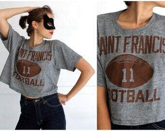 Vintage 1980s Saint Francis Football Cropped Heather Gray T-shirt | Large
