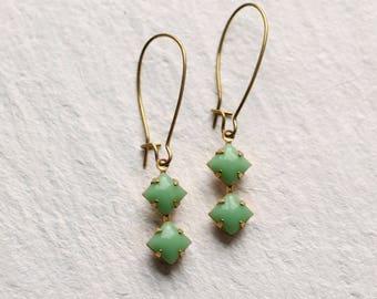 Green Deco Earrings ... Square Geometric Vintage