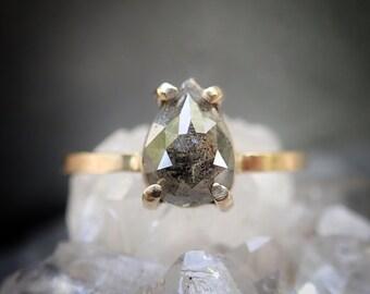 Rose Cut Pear Diamond Ring, Prong Set Grey Pear Diamond Engagement Ring, Salt and Pepper Diamond, 14k Yellow, Rose, or White Gold