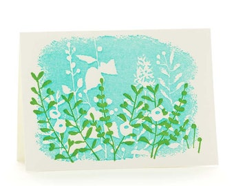 White flowers set of 6 letterpress cards