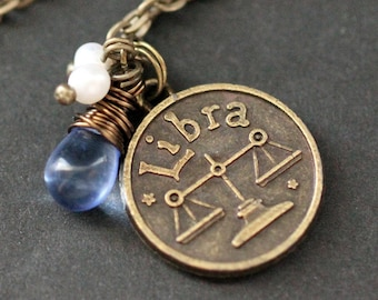 Libra Necklace. Zodiac Necklace. Sun Sign Charm Necklace with Glass Teardrop and Pearls. Handmade Jewelry.
