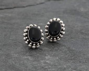 Black Onyx Earrings, Onyx Studs, Silver Studs, Onyx and Silver Stud Earrings, Balinese Jewellery, Handmade, Sterling Silver