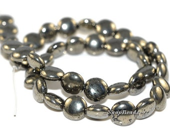 10MM Iron Pyrite Gemstones Circle Coin Button 10MM Loose Beads 7.5inch Half Strand (90106973-107)