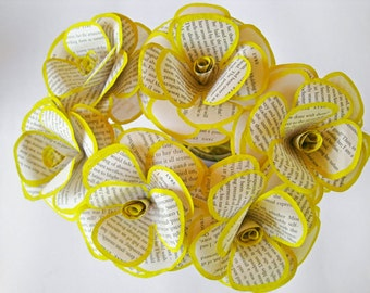 6 Book Page Flowers, DiY Wedding Flowers, Paper Stem Roses, Baby Shower Decor, Rustic Book Bouquet, Yellow  Book Page Roses, Old Book Decor