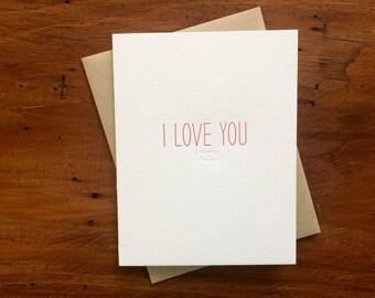 Hidden Message: I Love You, single letterpress card