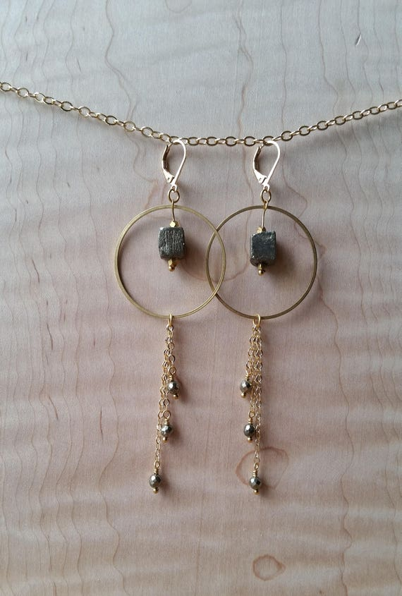 Pyrite and brass statement earrings with chain fringe