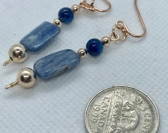 AA Kyanite bead earrings on 18k Rose gold plated vermeil french hook wires