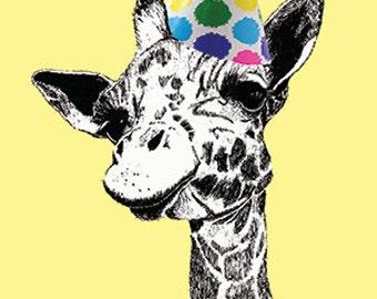 Giraffe Birthday Card Hand Drawn Blank Card