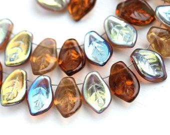 15pc Amber Topaz leaf beads MIX, Vitrail czech glass beads, brown curvy leaves, wavy leaf, topaz pressed glass beads - 14x9mm - 2572