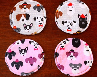 Round 100% cotton fabric coasters with multiple breed dog motif