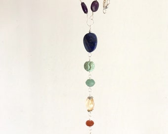 Chakra Necklace. Sterling Silver Necklace.   Energy Necklace. Colorful Gems.