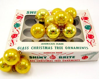 Gold 1950s Shiny Brite Christmas Ornaments Vintage Glass Feather Tree Christmas Decorations Boxed Set
