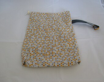 Medium Snap drawstring project bag- Heavnly Honeycomb