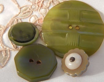 Olive Green Plastic Buttons - 4 Different Types