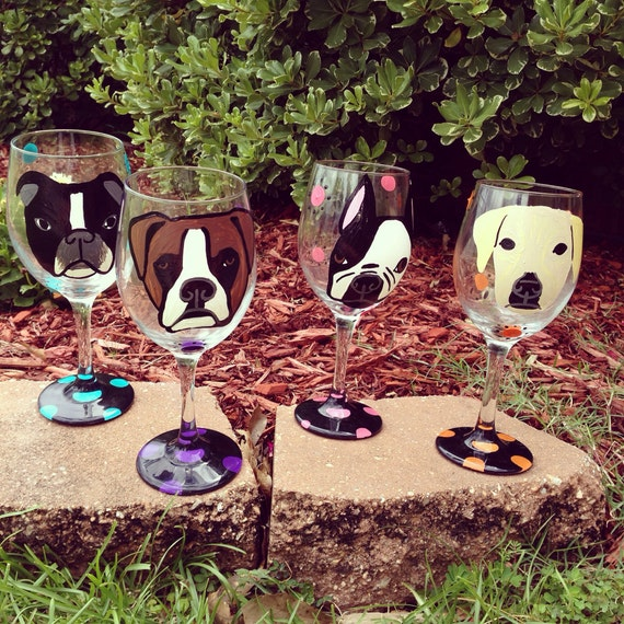 Custom painted pet wineglass
