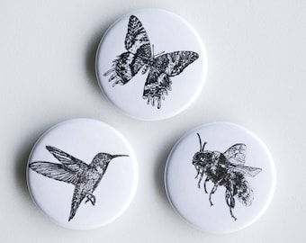 "Pollinators Magnets - Butterfly, Bee, Hummingbird Set of Strong Magnets - 1.5"" - Fridge Magnets Animal Magnet Animal Decor Woodland kitchen"