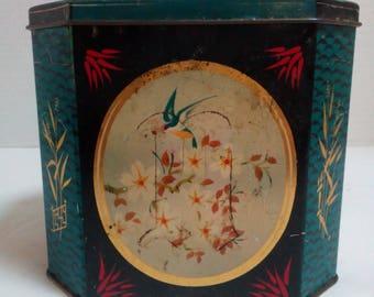 Vintage Japanese Tin Box Octagonal Tin Blue-Black Tin Floral tin 1930s