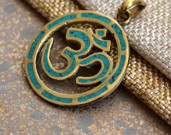 Brass Om Pendant, Turquoise Inlay Om Pendant, Nepal Brass Pendant, Ohm Pendant, Om Necklace, Tibetan Pendants, Yoga Jewelry, One,BID17-0123A