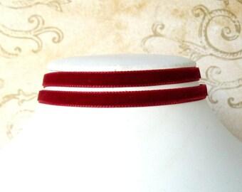 Very Thin Red Wrap Choker, Skinny Double Wrap Chocker, Tiny Scarlet Velvet Ribbon Necklace, Lolita Style Jewelry, Vintage Style