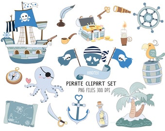 Pirate set Clipart  Instant Download PNG file - 300 dpi