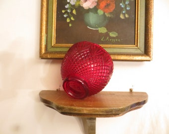 "Ruby Red Glass Lamp Shade, 2 1/8"" fittter end"