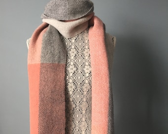 Handwoven scarf, alpaca and wool, felted pink and grey